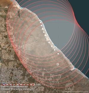 2 km safe distance industrial windturbine park Urirama / Alto Vista Aruba - Save Alto Vista - No windmills