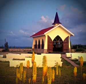 Alto Vista Chapel Aruba with flowers